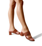Bree Camel | Leather Block Heel Sandal With Buckle Detail