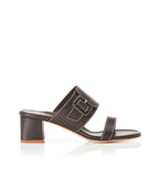 Bree Black | Leather Block Heel Sandal With Buckle Detail
