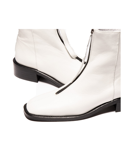 Bruges Top Zip Ankle Boot - White