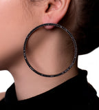 Fallon Gunmetal Cheekbone Hoops - TheSeptember.com