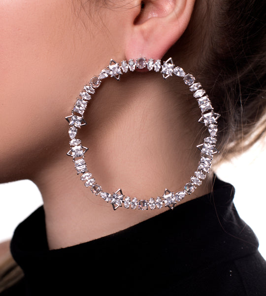 Fallon Jagged Crystal Cheekbone Hoops - TheSeptember.com