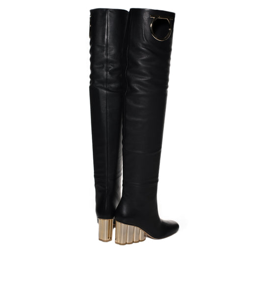 Salvatore Ferragamo Slouchy Leather Boots - TheSeptember.com