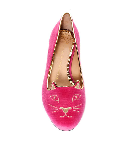 Charlotte Olympia Kitty Flat Magenta - TheSeptember.com