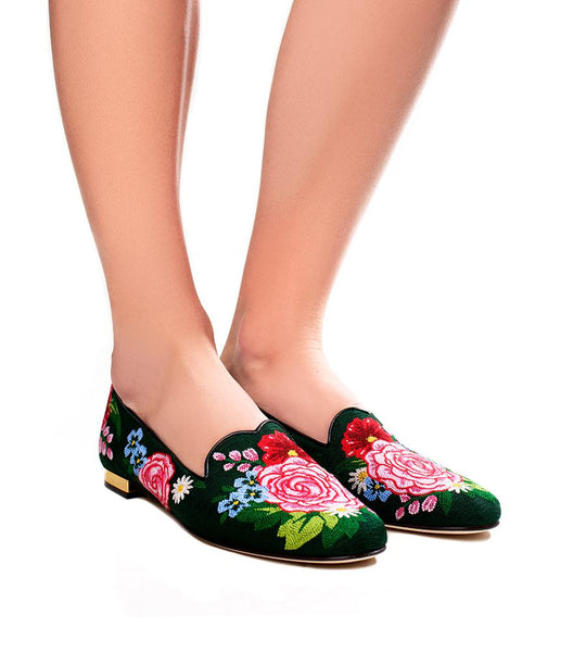 Rose Garden Embroidered Slipper