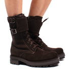 Combat Boot Brown Suede