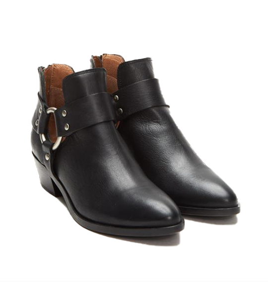 Ray Harness Boot With Back Zip Black