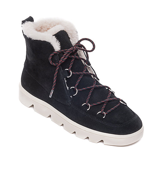 Dana Suede Lace-Up Boot Black