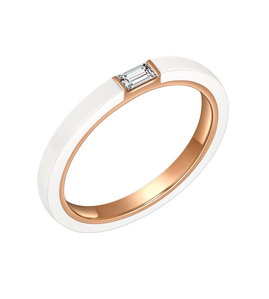 Cara White Ceramic Baguette Diamond Ring