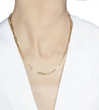 Elemental 14K Solid Yellow Gold Rectangular Chain Necklace