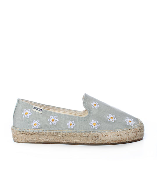 Daisies Embroidered Floral Espadrille