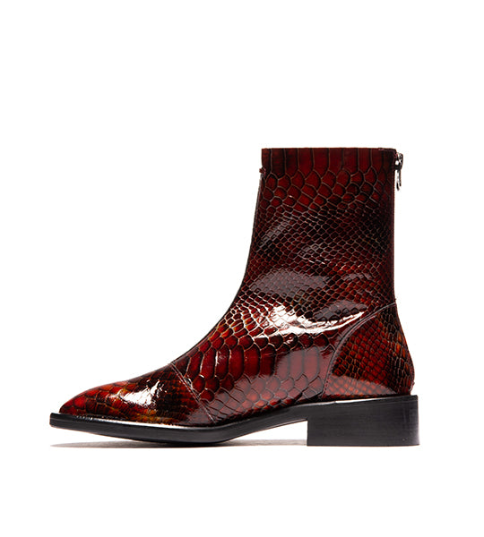 Dalton Vintage Red Snake Leather Boot