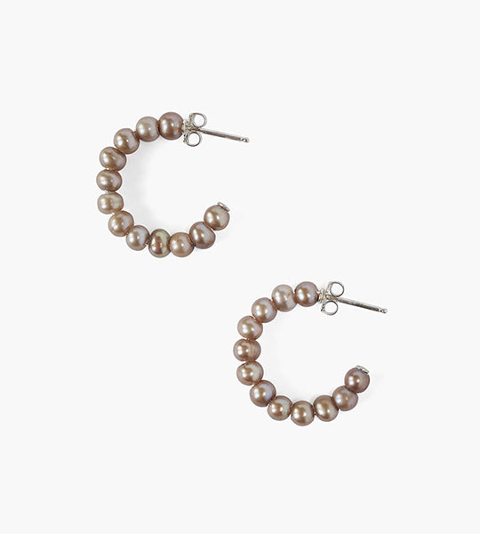 Taupe Pearl Holly Hoop Earrings