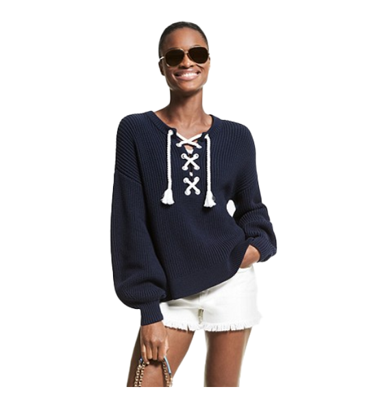 Easy Rope Lace Up Sweater
