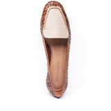 Edyth Flat Woven Leather and Natural Raffia
