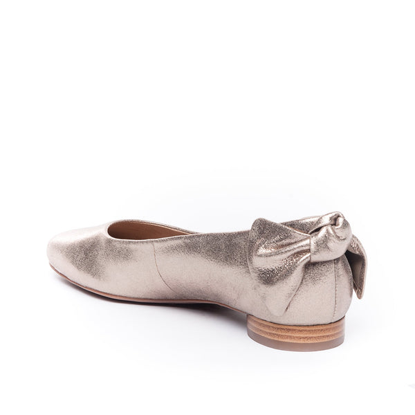 Eloise Metallic Flat with Bow