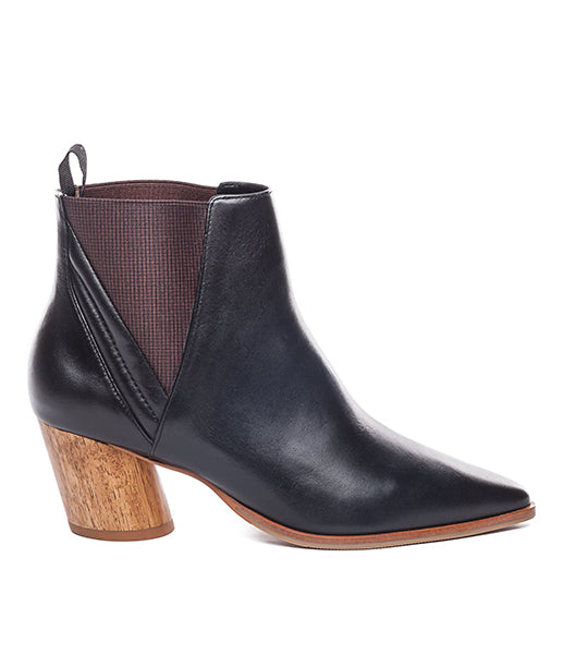 Ferris Black Leather Bootie