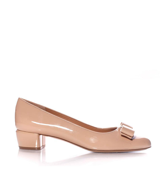 Salvatore Ferragamo Vara Patent Leather Pump Beige - TheSeptember.com