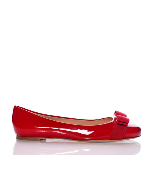 Varina Patent Leather Flat with Bow Red