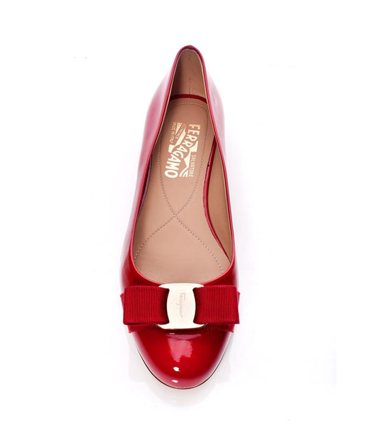 Salvatore Ferragamo Varina Patent Leather Flat with Bow Red - TheSeptember.com