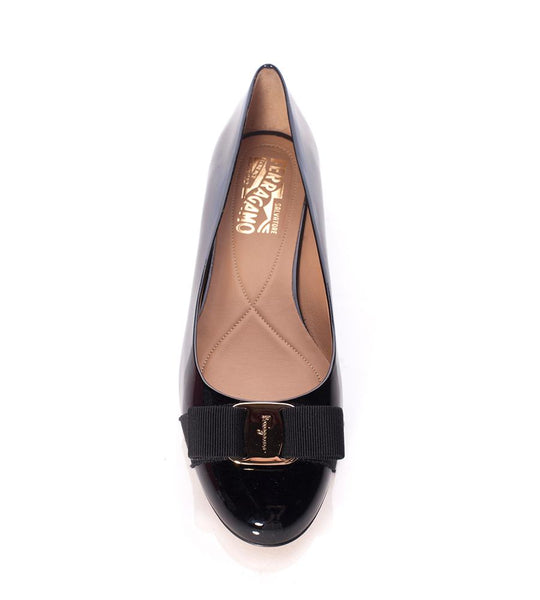 Salvatore Ferragamo Varina Patent Leather Flat with Bow Black - TheSeptember.com