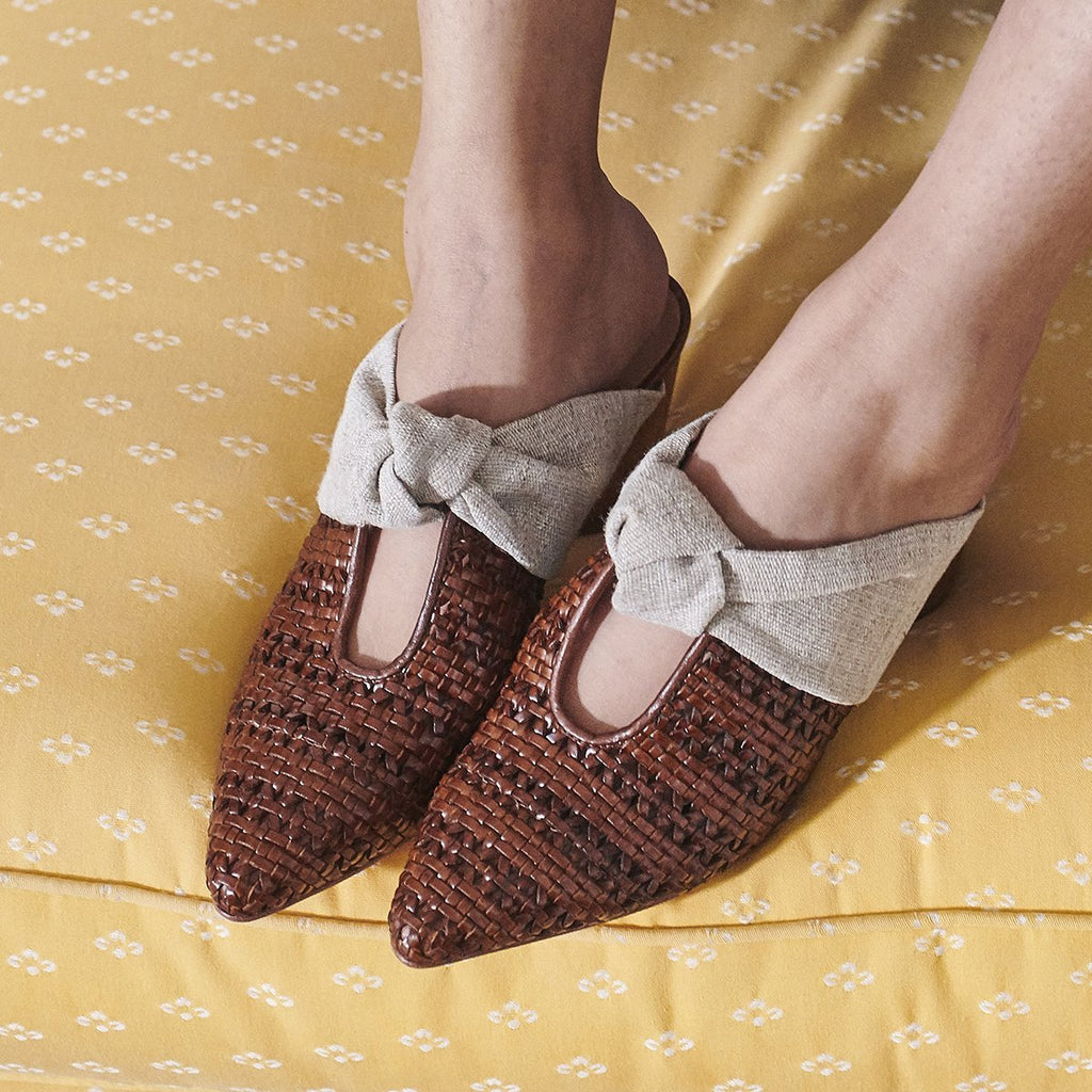 Finley Woven Luggage and Linen Mule