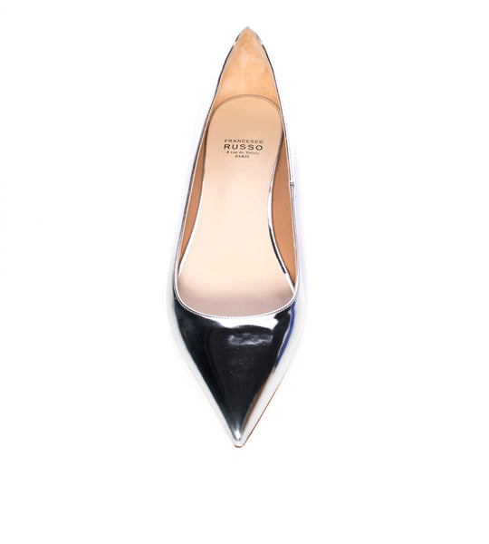 Silver Pointed Toe Flat