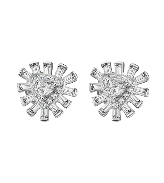 Glamour Baguette Diamond Stud Earrings