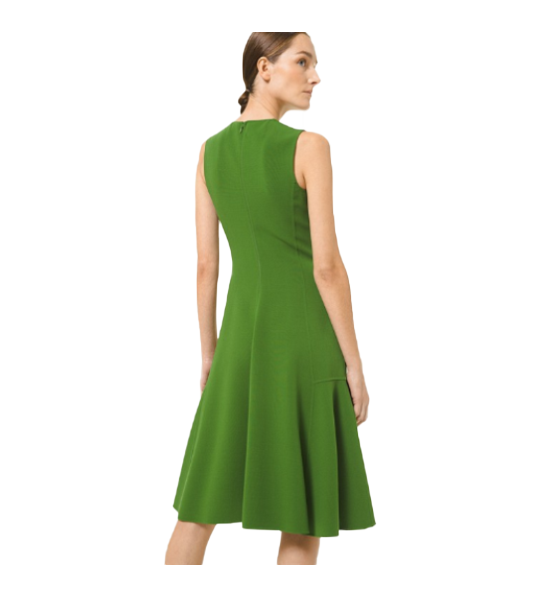 Double Face Stretch Wool Crepe Sheath Dress