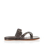 Hayley Black | Leather Thong Sandal With Buckle Detail