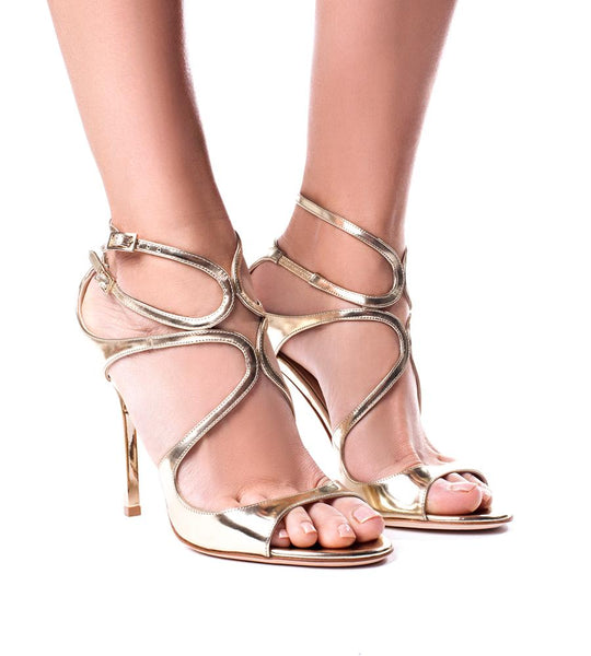 Jimmy Choo Lang Mirrored Leather Sandal - TheSeptember.com
