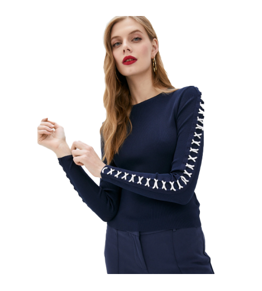 Rope Lace Up Long Sleeve Top