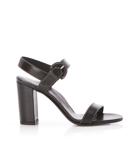 Lang Black | Leather Block Heel Sandal With Buckle
