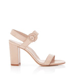 Lang Buff | Leather Block Heel Sandal With Buckle