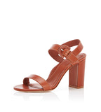 Lang | Leather Block Heel Sandal With Buckle