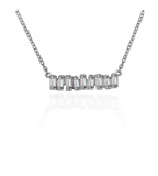 Love Diamond Small Bar Necklace - White Gold