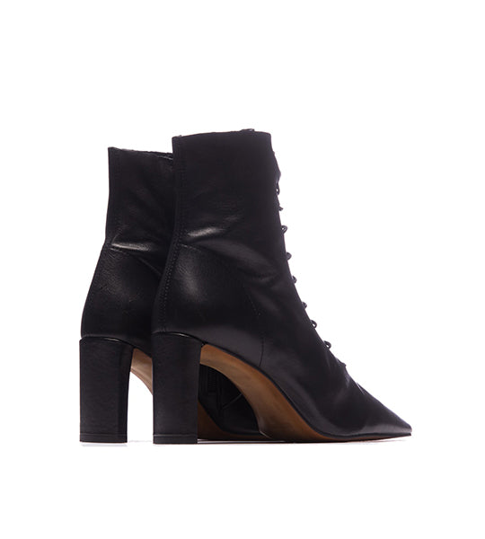 Madeline Black Leather Bootie