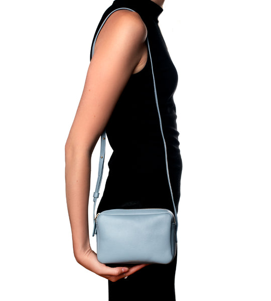 Grey Blue Double Zip Crossbody Bag