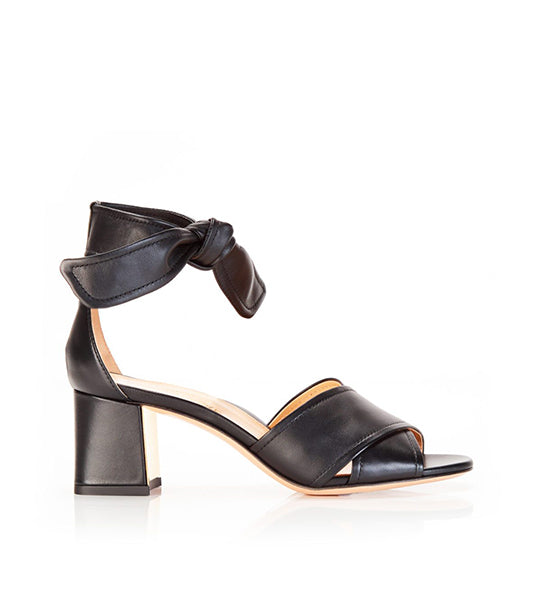 Bella Black | Leather Block Heel Ankle Tie Sandal