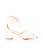 Bella Ivory | Leather Block Heel Ankle Tie Sandal