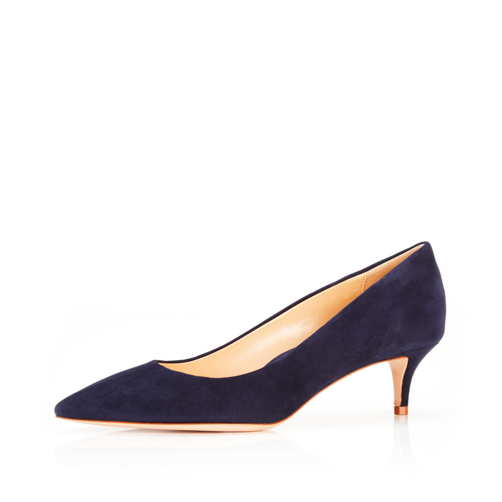 Must Have 45 Navy | Suede Kitten Heel Pump