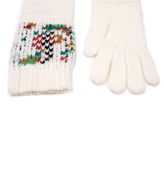 Knit Gloves Ivory Mix