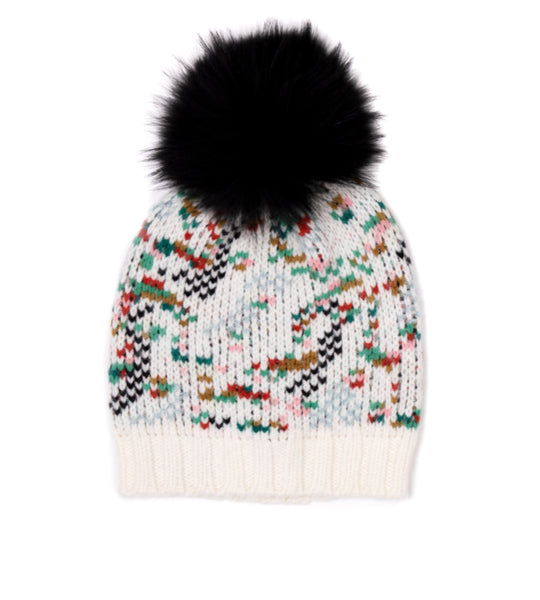 Knit Hat Ivory Mix with Faux Fur Pom