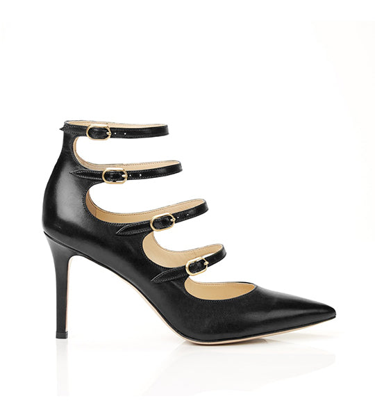 Mitchell Black Strappy Mary Jane Stiletto Pump