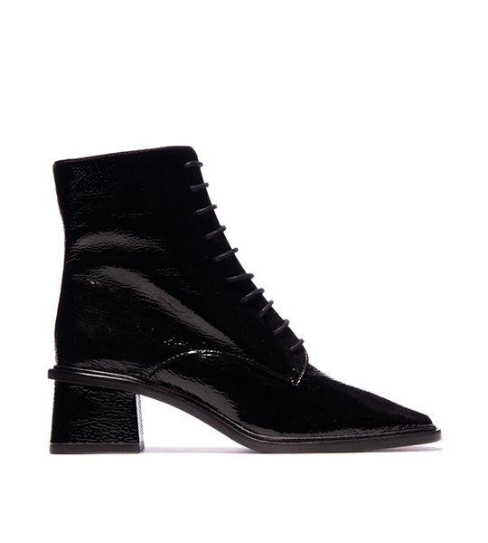 Moffat Lace-Up Square Toe Boots - Black Patent