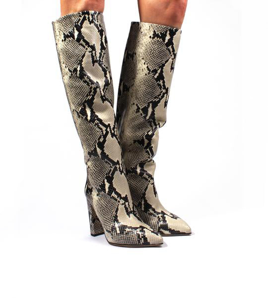 Natural Python Print Block Heel Boot