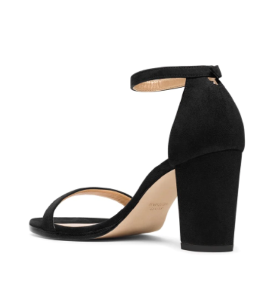 Nearly Nude Black Suede Heel