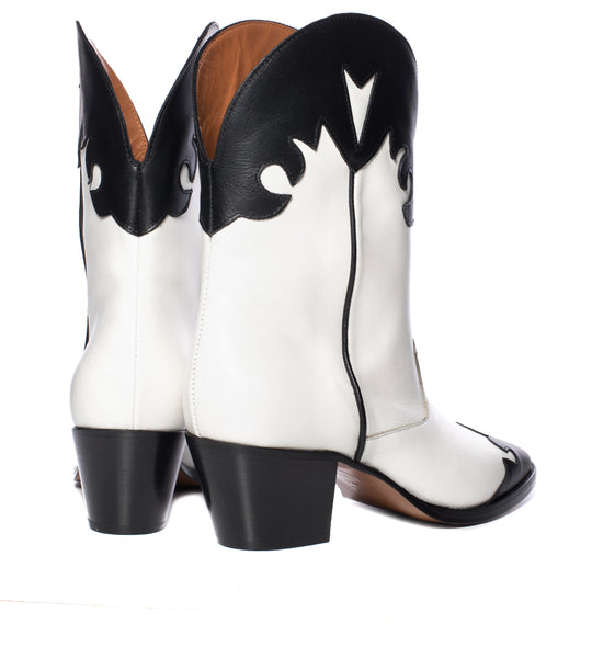Paris Texas Black and White Cowboy Boot - TheSeptember.com