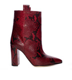Dark Red Embossed Python Ankle Boot