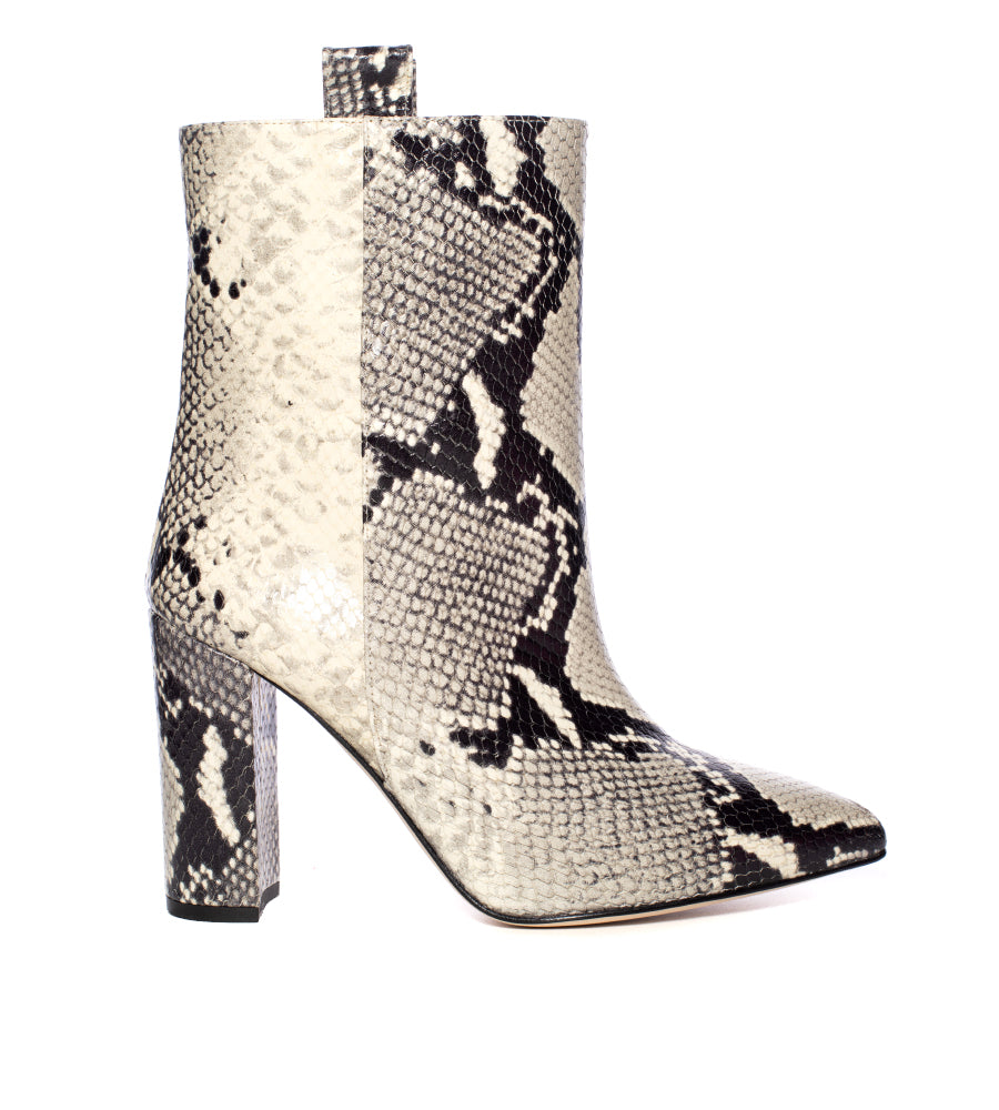 Natural Embossed Python Ankle Boot