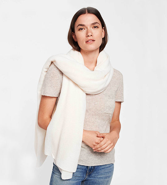 Cashmere Travel Wrap Pearl White